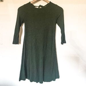 3/9 Long Sleeve Ribbed Dress with Open Back